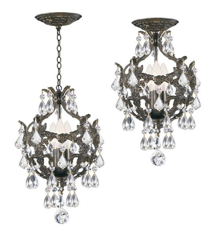 Crystorama Ornate Mini Chandelier Accented with Hand Cut Crystal 3 Lights - English Bronze - 5193-EB-CL-MWP - PeazzLighting