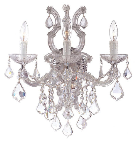 Crystorama 4433-CH-CL-SAQ 3-Lights Maria Theresa Wall Sconce Draped In Clear Swarovski Spectra Crystal - Polished Chrome - PeazzLighting