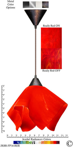 Jezebel Radiance Flame Pendant Large - Hardware Brown - Glass Really Cherry Red - PeazzLighting