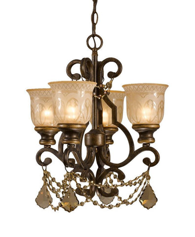 Crystorama Golden Teak Strass Crystal Draped on a Wrought Iron Chandelier Handpainted with a Amber Glass Pattern 4 Lights - Bronze Umber - 7504-BU-GTS - PeazzLighting