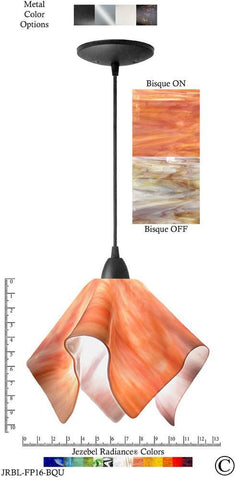 Jezebel Radiance Flame Pendant Large - Hardware Black - Glass Bisque Orange Cream - PeazzLighting