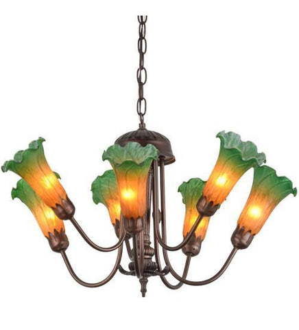 "Meyda Tiffany 160614 24""W Amber/Green Pond Lily 7 Lt Chandelier - PeazzLighting"