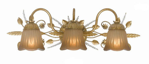 Crystorama 4743-GL 3-Lights Swarovski Spectra Beads Draped Onto A Delicate Wrought Iron Frame - Gold Leaf - PeazzLighting