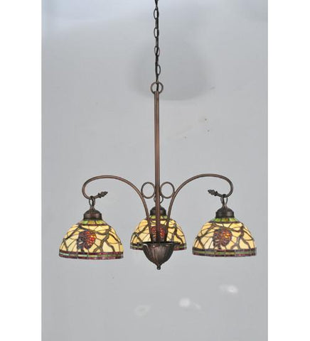 "Meyda Tiffany 106291 28""W Pinecone Dome 3 Lt Chandelier - PeazzLighting"