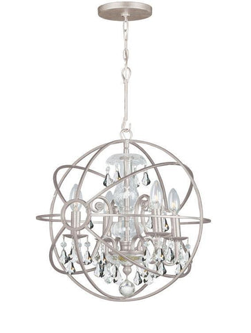 Crystorama 9025-OS-CL-MWP Solaris 4 Light Clear Crystal Silver Mini Chandelier - PeazzLighting