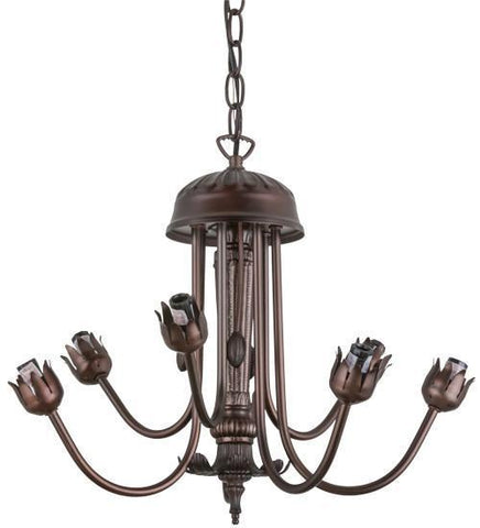 "Meyda Tiffany 160609 17""W Mahogany Bronze 7 Lt Chandelier Hardware - PeazzLighting"