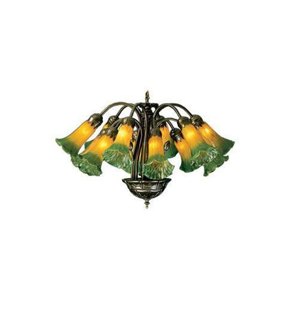 "Meyda Tiffany 15997 20""W Amber/Green Pond Lily 12 Lt Chandelier - PeazzLighting"