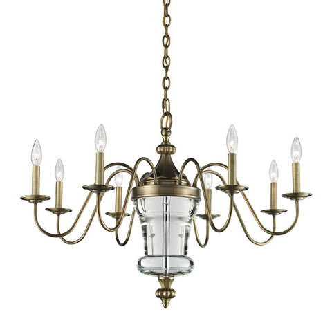 ELK Lighting Bensley 8 Light Chandelier In Antique Brass Crystal Center Column - 44011/8 - PeazzLighting