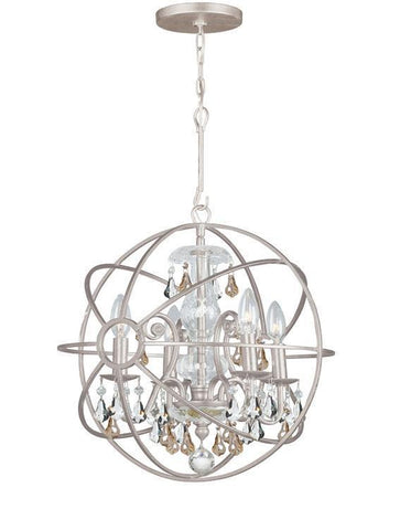 Crystorama 9025-OS-GS-MWP Solaris 4 Light Golden Shadow Crystal Silver Mini Chandelier - PeazzLighting
