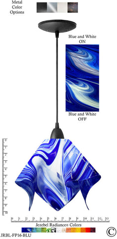 Jezebel Radiance Flame Pendant Large - Hardware Black - Glass Blue And White - PeazzLighting