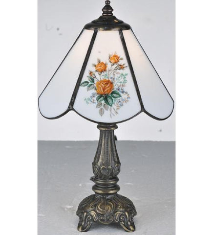 "Meyda Tiffany 107812 11.5""H Rose Bouquet Mini Lamp - PeazzLighting"