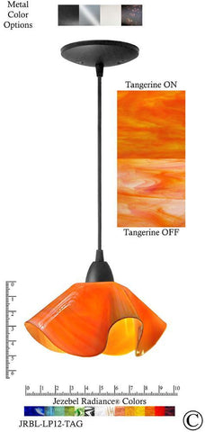 Jezebel Radiance Lily Pendant Small - Hardware Black - Glass Tangerine Orange - PeazzLighting