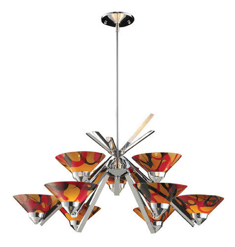 ELK Lighting Lighting 1476-6+3Jas Nine Light Chandelier In Polished Chrome And Jasper Glass - PeazzLighting