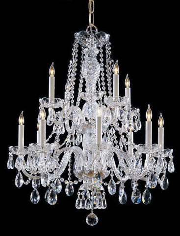 Crystorama 5047-PB-CL-MWP Traditional Crystal 12 Light Clear Crystal Brass Chandelier V - PeazzLighting