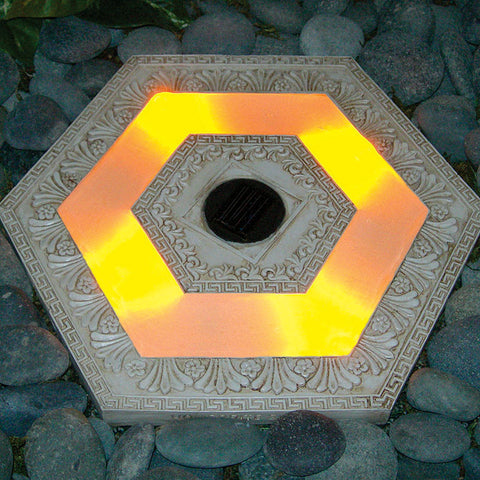 "HomeBrite 13"" Solar SteppingStone - Hexagon White Wash Color - Set of 3 - PeazzLighting"
