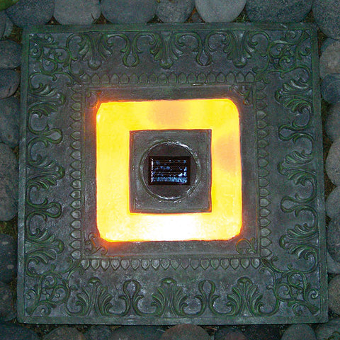 "HomeBrite 30840 13"" Solar Stepping Stone Square Garden Green Color - Set of 3 - PeazzLighting"