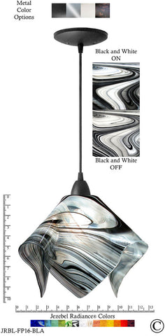 Jezebel Radiance Flame Pendant Large - Hardware Black - Glass Black And White - PeazzLighting