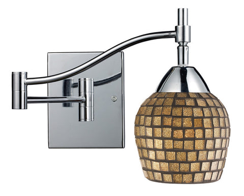 ELK Lighting Celina Celina 1-Light Swingarm Sconce In Polished Chrome And Gold Leaf Glass - 10151/1PC-GLD - PeazzLighting