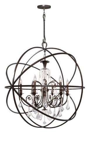 Crystorama 9219-EB-CL-MWP Solaris 6 Light Crystal Bronze Sphere Chandelier II - PeazzLighting
