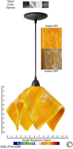 Jezebel Radiance Flame Pendant Large - Hardware Black - Glass Amber Gold Yellow - PeazzLighting