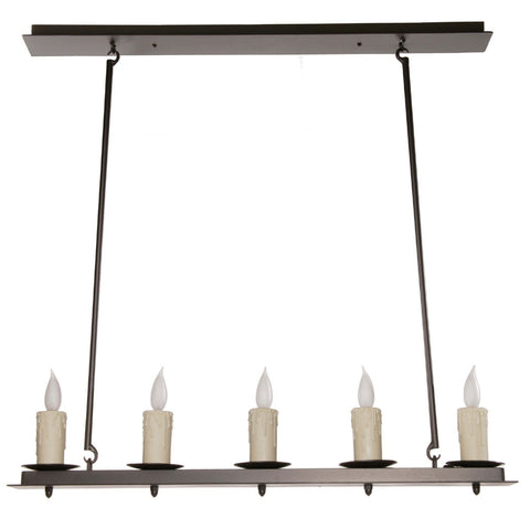 Nova Linear Chandelier 5 Light w/Ivory Drip Candle Cover - PeazzLighting