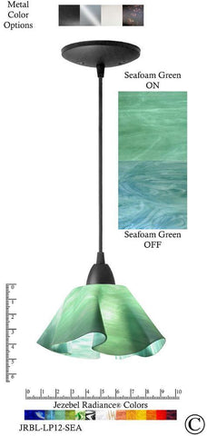 Jezebel Radiance Lily Pendant Small - Hardware Black - Glass Seafoam Teal Green - PeazzLighting