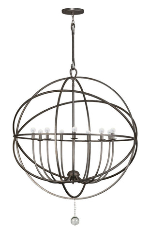Crystorama Wrought iron chandelier with handpainted English Bronze finish and glass ball accent. 9 Lights - English Bronze - 9229-EB - PeazzLighting