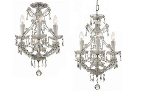 Crystorama Maria Theresa Dual Mount Draped in Hand Cut Crystal. Semi Flush or Mini Chandelier application. 3 Lights - Polished Chrome - 4473-CH-CL-MWP - PeazzLighting