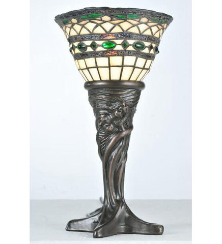 "Meyda Tiffany 108936 14""H Tiffany Roman Mini Lamp - PeazzLighting"
