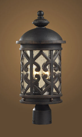 ELK Lighting 42064-2 Two Light Post Light In Weathered Charcoal And Clear Seeded Glass - PeazzLighting