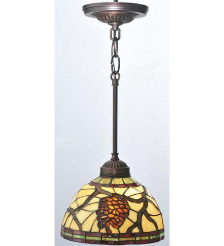 "Meyda Tiffany 106290 8""W Burgundy Pinecone Mini Pendant - PeazzLighting"