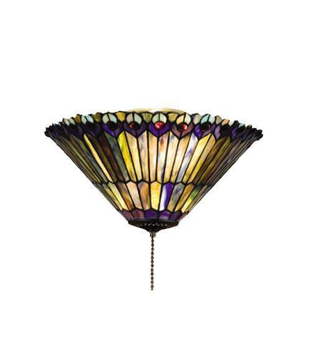 "Meyda Tiffany 27438 17""W Tiffany Jeweled Peacock Flushmount - PeazzLighting"