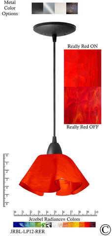 Jezebel Radiance Lily Pendant Small - Hardware Black - Glass Really Cherry Red - PeazzLighting