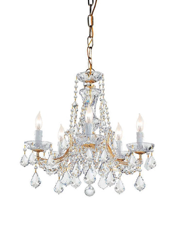 Crystorama 4476-GD-CL-MWP 5-Lights Maria Theresa Chandelier Draped In Clear Cut Crystal - Gold - PeazzLighting