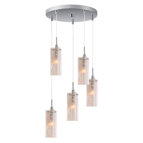 Woodbridge Lighting 5-light Multi-Light Pendant in Satin Nickel and Seedy Plated Amber Glass - PeazzLighting