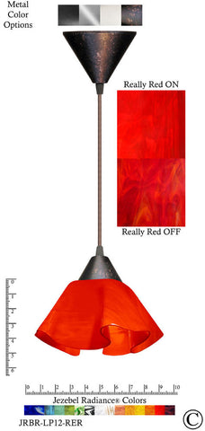 Jezebel Radiance Lily Pendant Small - Hardware Brown - Glass Really Cherry Red - PeazzLighting