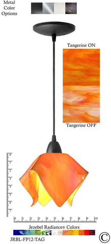 Jezebel Radiance Flame Pendant Small - Hardware Black - Glass Tangerine Orange - PeazzLighting