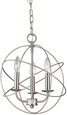 Cornerstone 1513CH/20 Williamsport 3 Light Chandelier In Brushed Nickel - PeazzLighting