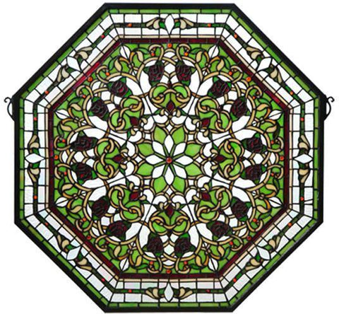 "Meyda Tiffany 107223 25""W X 25""H Front Hall Floral Stained Glass Window - PeazzLighting"