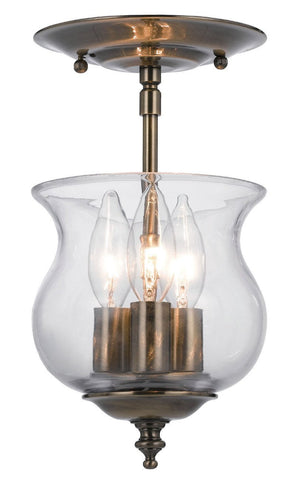 Crystorama 5715-AB 3-Lights Traditional Bell Jar Finished In Antique Brass. - Antique Brass - PeazzLighting