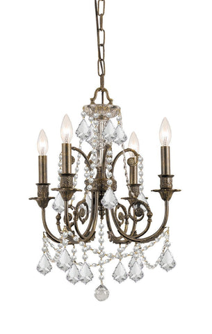 Crystorama Clear Swarovski Crystal Wrought Iron Chandelier 4 Lights - English Bronze - 5114-EB-CL-SAQ - PeazzLighting
