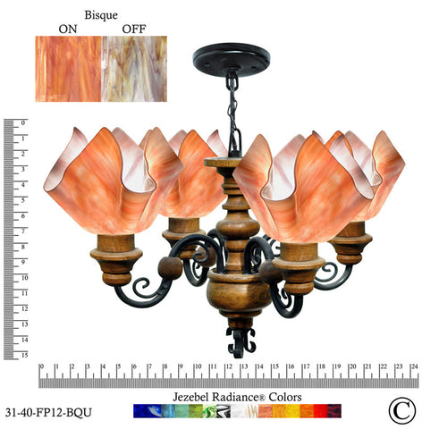 Jezebel Radiance® Flame Vineyard Chandelier. Glass: Bisque - PeazzLighting