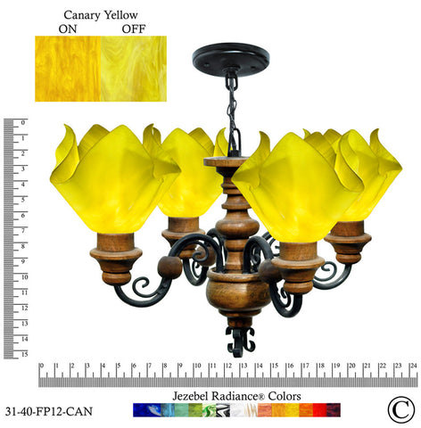 Jezebel Radiance® Flame Vineyard Chandelier. Glass: Canary Yellow - PeazzLighting