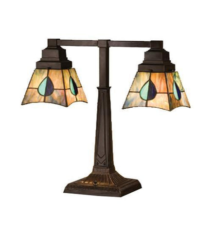 Meyda Tiffany 24284 Mackintosh Leaf Mission 2 Arm Desk Lamp - PeazzLighting