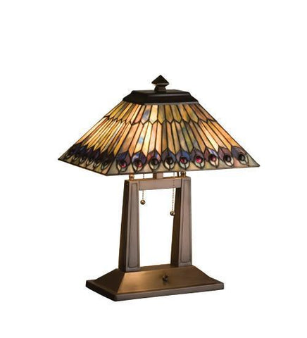 Meyda Tiffany 26300 Tiffany Jeweled Peacock Oblong Desk Lamp - PeazzLighting