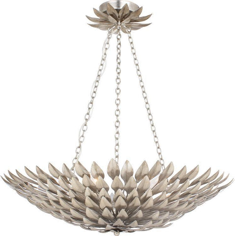 Crystorama 517-SA Broche 6 Light Antique Silver Pendant Chandelier - PeazzLighting