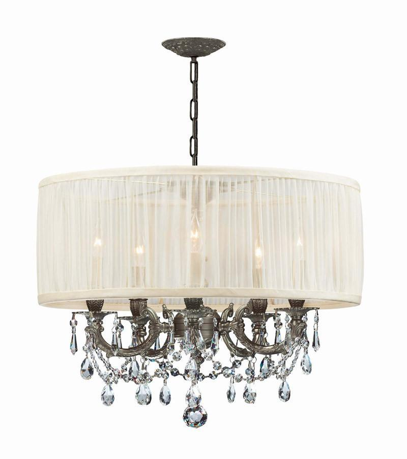 Crystorama Ornate Casted Pewter Chandelier With Clear Mwp...