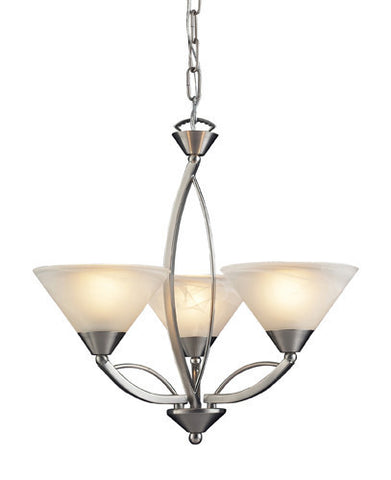 ELK Lighting Lighting 7635-3 Three Light Chandelier In Satin Nickel And Marblized White Glass - PeazzLighting - 1