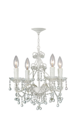 Crystorama Paris Flea Market Mini Chandelier, Wet White finish, Adorned with Crystal Accents 4 Lights - Wet White - 4514-WW-CLEAR - PeazzLighting