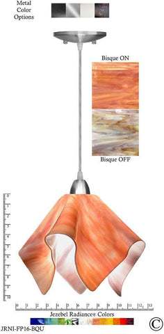 Jezebel Radiance Flame Pendant Large - Hardware Nickel - Glass Bisque Orange Cream - PeazzLighting
